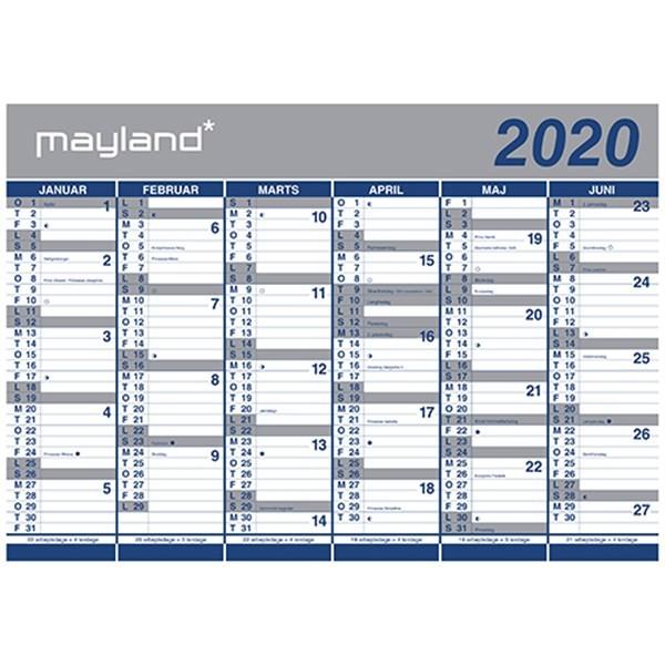 Kalender 2020 Væg Kæmpe 2×6