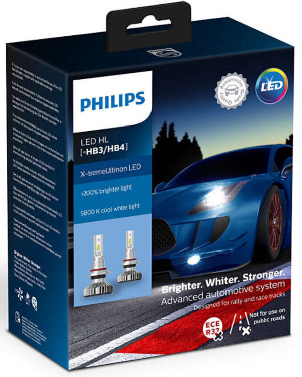 Philips X-treme Ultinon HB3/HB4 LED +200% mere lys (2 stk.) Philips X-Treme Ultinon LED +200% / +250%
