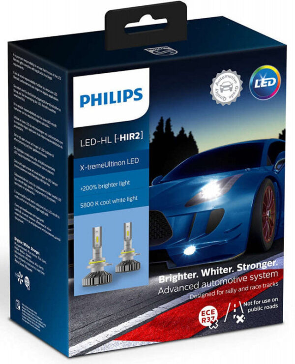Philips X-treme Ultinon HIR2 LED +200% mere lys (2 stk.) Philips X-Treme Ultinon LED +200% / +250%
