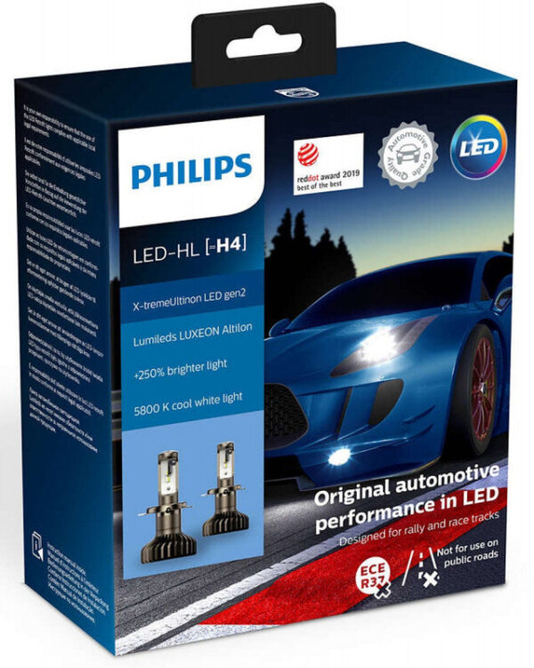 Philips X-treme Ultinon H4 LED gen2 +250% mere lys (2 stk.) Philips X-Treme Ultinon LED +200% / +250%