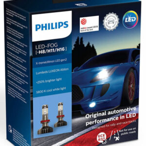 Philips X-treme Ultinon H8/H11/H16 LED +250% mere lys ( 2 stk. (( Tåge lys )) Philips X-Treme Ultinon LED +200% / +250%