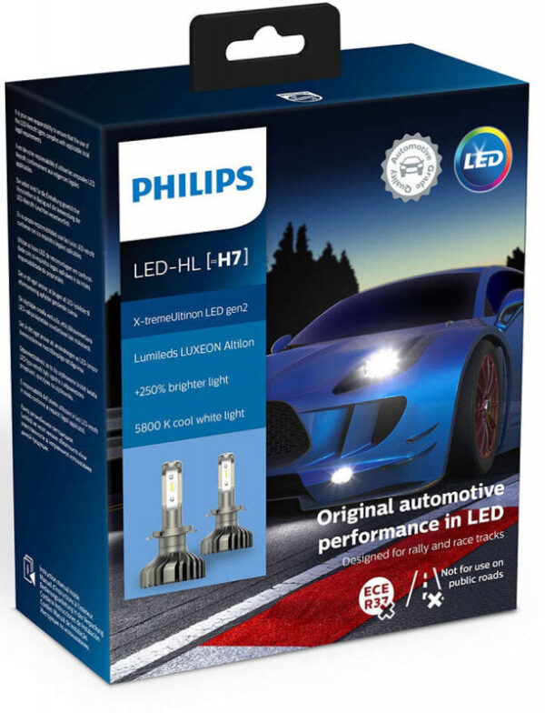 Philips X-treme Ultinon H7 LED +250% mere lys (2 stk.) Philips X-Treme Ultinon LED +200% / +250%