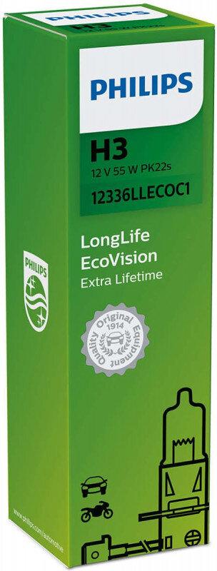 Philips H3 Longlife EcoVision pære med op til 4x længere levetid Philips LongLife EcoVision x4