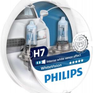 Philips White Vision H7 pære med Xenon effekt & +60% mere lys 2 stk + (2stk. W5W) Philips White Vision +60% mere lys