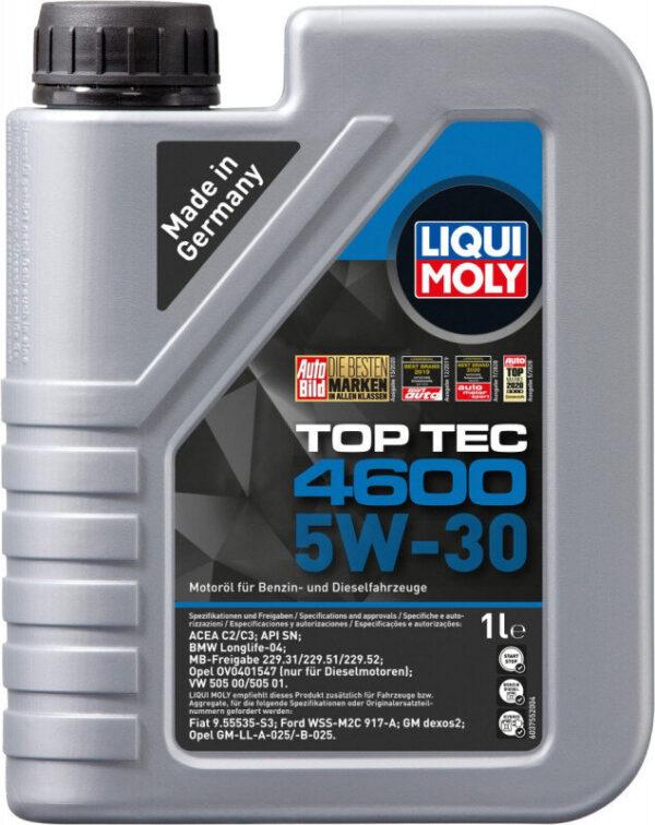 Top tec 4600 Liqui moly 5W30 Motorolie i 1 liters dunk Top tec motorolie fra Liqui Moly