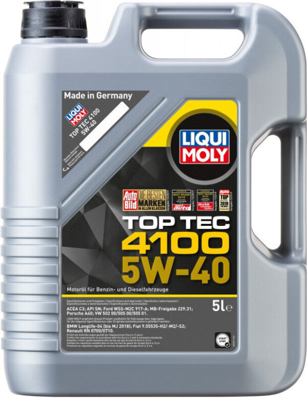 Top tec 4100 Liqui moly 5W40 Motorolie i 5l Top tec motorolie fra Liqui Moly