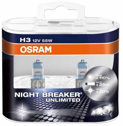 Osram Night Breaker Unlimited H3 pærer +110% mere lys (2 stk) pakke Osram Night Breaker Unlimited +110%