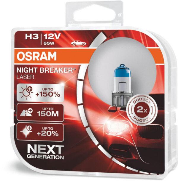 Osram Night Breaker Laser H3 pærer +150% mere lys (2 stk) pakke Osram Night Breaker Laser +150%