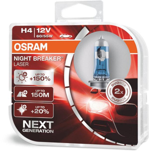 Osram Night Breaker Laser H4 pærer +150% mere lys (2 stk) pakke Osram Night Breaker Laser +150%