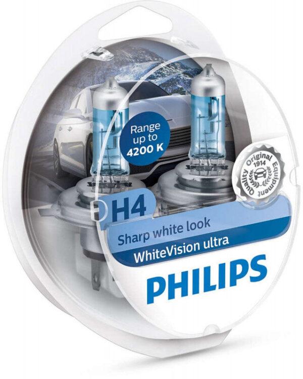 Philips WhiteVision Ultra H4 pærer 2 stk. Kit +60% mere lys   hvidt lys (op til 4200K) Philips WhiteVision Ultra +60% mere lys