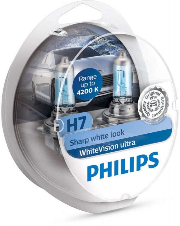 Philips WhiteVision Ultra H7 pærer 2 stk. Kit +60% mere lys   hvidt lys (op til 4200K) Philips WhiteVision Ultra +60% mere lys